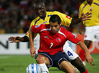 CHILE (4) vs. COLOMBIA (0) in their World Cup 2010 qualifying soccer match in Santiago, Chile. September 10, 2008<br /> Here CHILE player ALEXIS SANCHEZ and Colombia PABLO ARMERO.<br /> © PikoPress