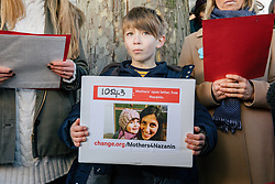 "© Licensed to London News Pictures. 25/11/2017. London, UK. Martin Rollier carries the ""Mothers Open Letter"", to be delivered to His Excellency Sayyed Ali Hosseini Khamenein at the Islamic Centre England calling for the immediate release of British Iranian Nazanin Zaghari-Ratcliffe, who remains in prison in Iran. Photo credit: Rob Pinney/LNP"