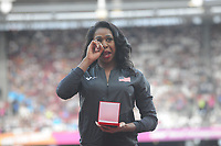 Athletics - 2017 IAAF London World Athletics Championships - Day One<br /> <br /> Medal Ceremonies for rehoming of medals from positive drug testing<br /> <br /> Francena McCorory (USA)breaks down in tears as she receives her Bronze for the Womens 400m , at the London Stadiuim.<br /> <br /> COLORSPORT/ANDREW COWIE