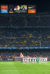 December 5, 2018 - Barcelona, Spain - minute of silence in memory of the former president of Barcelona, Josep Lluis Nunez during the match between FC Barcelona and Cultural Leonesa, corresponding to the 1/16 final of the spanish King Cuo, played at the Camp Nou Stadium on 05th December 2018 in Barcelona, Spain. Photo: Joan Valls/Urbanandsport /NurPhoto. (Credit Image: © Joan Valls/NurPhoto via ZUMA Press)