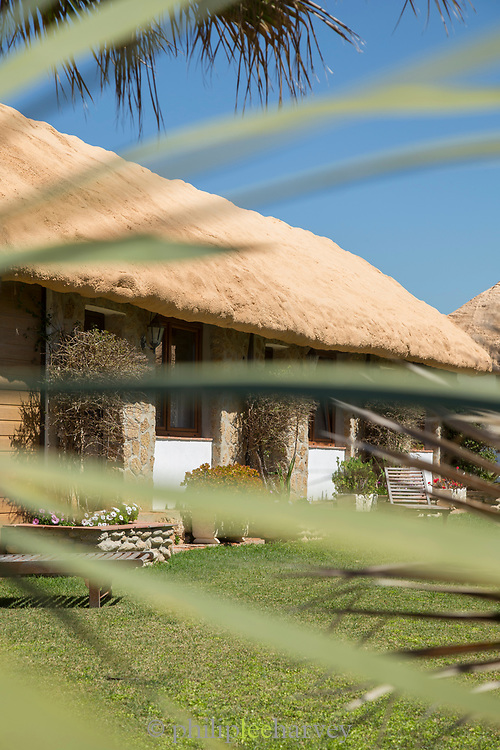 Thatched-roof hotel seen through leaves, Cadiz, Andalusia, Spain