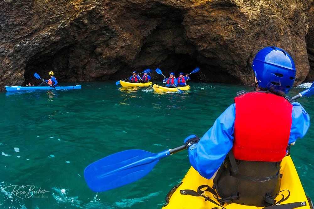 Sea kayaking on Santa Cruz Island, Channel Islands National Park, California USA