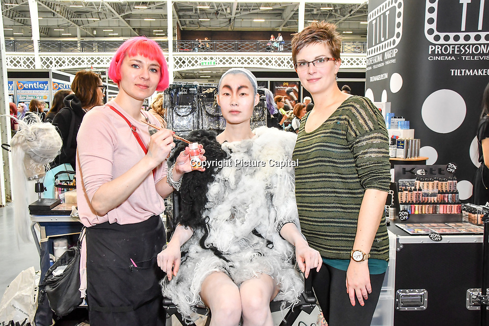 Tilt Professional makeup - Anna Cichon and Alex Vlcek and Model: Ceci Zhang demo at IMATS London on 18 May 2019,  London, UK.