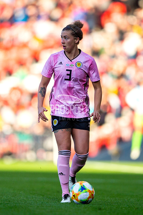 Nicola Docherty (#3) of Scotland on the ball during the International Friendly match between Scotland Women and Jamaica Women at Hampden Park, Glasgow, United Kingdom on 28 May 2019.