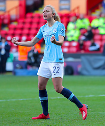 Manchester City's Claire Emslie celebrates scoring during the penlaty shoot out during the FA Women's Continental League Cup final at Bramall Lane, Sheffield.