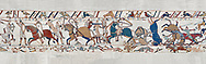 Bayeux Tapestry scene 53a : Fierce fighting between Norman and Saxon soldiers at The Battle of Hastings.  BYX53a .<br /> <br /> If you prefer you can also buy from our ALAMY PHOTO LIBRARY  Collection visit : https://www.alamy.com/portfolio/paul-williams-funkystock/bayeux-tapestry-medieval-art.html  if you know the scene number you want enter BXY followed bt the scene no into the SEARCH WITHIN GALLERY box  i.e BYX 22 for scene 22)<br /> <br />  Visit our MEDIEVAL ART PHOTO COLLECTIONS for more   photos  to download or buy as prints https://funkystock.photoshelter.com/gallery-collection/Medieval-Middle-Ages-Art-Artefacts-Antiquities-Pictures-Images-of/C0000YpKXiAHnG2k