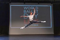© Licensed to London News Pictures. 30/09/2021. London, UK. William Bracewell, First Soloist of The Royal Ballet performs  Jump for Joy in advance of World Ballet Day. Photo credit: Ray Tang/LNP