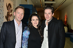 Left to right, GUSTAV HAMREN-LARSSON, his wife MARINA HAMREN-LARSSON and her brother BLAISE PATRICK at the Future Contemporaries Party in association with Coach at The Serpentine Sackler Gallery, West Carriage Drive, Kensington Gardens, London on 21st February 2015.