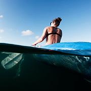 An ocean kayaker enjoys the open sea in The Bahamas.