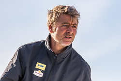 French skipper Yann Elies onboard his Class Imoca monohull on the St Malo Harbour before the departure of the Route du Rhum 2018, on November 3, 2018. Photo by Arnaud Masson/ABACAPRESS.COM