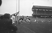 All Ireland Senior Football Final Galway v. Dublin 22nd September 1963 Croke Park..Only Goal of the Match.G. Davey (2nd from right) punches ball into net for Dublin goal. Galway Goalie M. Moore and other backs look on helplessly ..22.09.1963  22nd September 1963Dublin.1-9.Galway.0-10..P. Flynn, L. Hickey, L. Foley, W. Casey, D. McKane, P. Holden, M. Kissane, D. Foley (Captain), John Timmons, B. McDonald, Mickie Whelan, G. Davey, S. Behan, D. Ferguson, N. Fox..Sub: P. Downey for P. Holden..D. Foley (Captain).