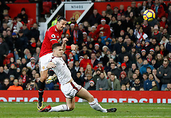 Manchester United's Zlatan Ibrahimovic has a shot on goal blocked during the Premier League match at Old Trafford, Manchester.