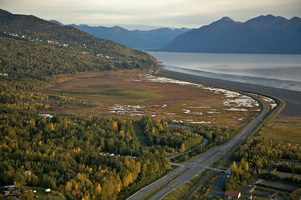 South Anchorage aerial of Seward Highway 9-06