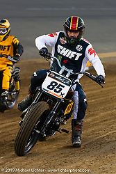 Buddy Suttle (number 85) Hooligan Racing during the American Flat Track TT at Daytona International Speedway - Daytona Bike Week. Daytona Beach, FL. USA. Thursday March 15, 2018. Photography ©2018 Michael Lichter.