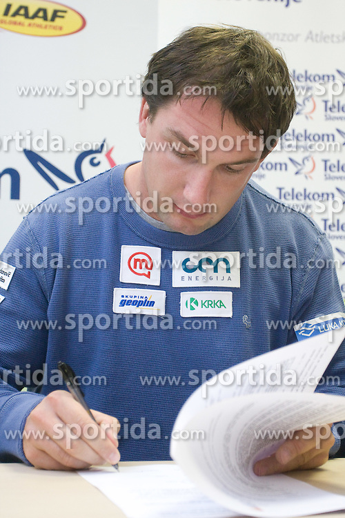 Primoz Kozmus when Slovenian athletes and their coaches sign contracts with Athletic federation of Slovenia for year 2009,  in Ljubljana, Slovenia, on March 2, 2009. (Photo by Vid Ponikvar / Sportida)