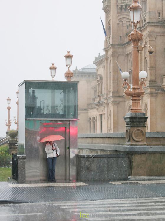 Torrential rain falling in downtown San Sebastian