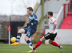 Forfar Athletic's James Lister scoring their second goal. Clyde 2 v 2 Forfar Athletic, Scottish League Two game played 4/3/2017 at Clyde's home ground, Broadwood Stadium, Cumbernauld.