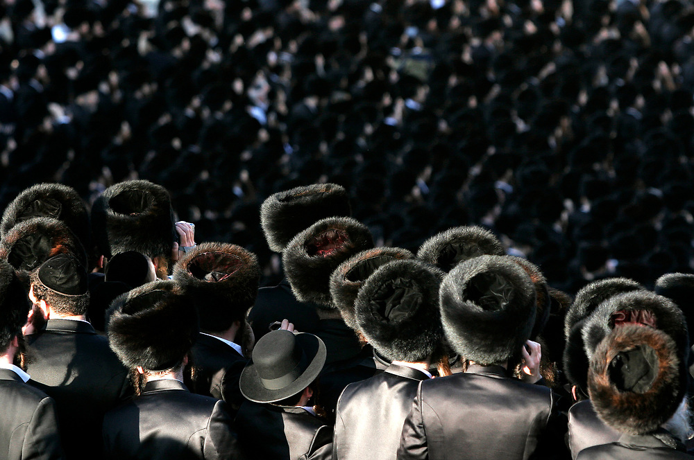 Tens of thousands of Ultra Orthodox Jews of the Gur Hassidic sect gather at the wedding of 19-year-old Rachel Wassertog to 19-year-old Aharon Noah Alter, the grandson of Rabbi Yaakov Ari Alter, the leader of their sect in Jerusalem, on February 27, 2007.