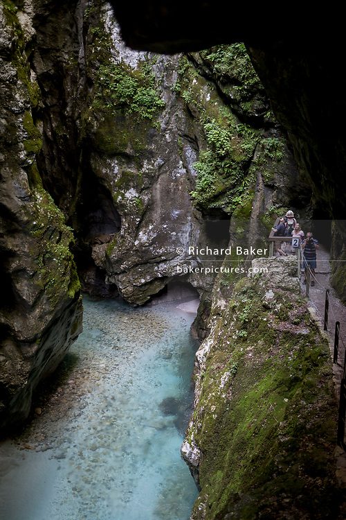 The rocky gorge in the river Tolminka river at Tolminska Korita, on 20th June 2018, in Tolmin Gorge, Slovenia.