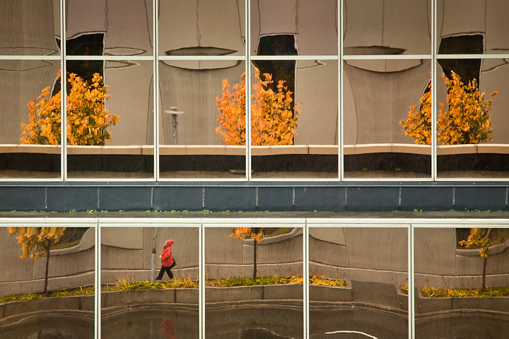 Fall reflections in the Conoco Phillips buiding, Downtown, Anchorage