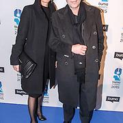 NLD/Hilversum/20150217 - Inloop Buma Awards 2015, Frank Boeijen en partner Agnes
