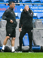 Football - 2020 / 2021 Sky Bet Championship - Cardiff City vs Rotherham United - Cardiff city Stadium<br /> <br /> Rotherham Utd manager Paul Warne looks worried on the touchline in the 88th minute after Cardiff have equalised pushing Rotherham towards relegation <br /> <br /> COLORSPORT/WINSTON BYNORTH