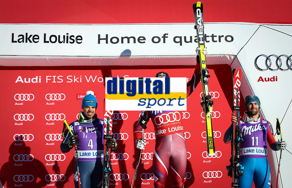 Alpint<br /> FIS World Cup<br /> Foto: Gepa/Digitalsport<br /> NORWAY ONLY<br /> <br /> LAKE LOUISE,CANADA,28.NOV.15 - ALPINE SKIING - FIS World Cup, downhill, men, award ceremony. Image shows Peter Fill (ITA), Aksel Lund Svindal (NOR) and Travis Ganong (USA).