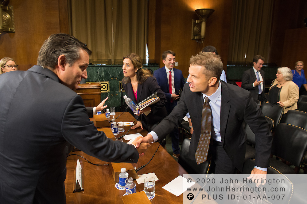 """Mr. John Horton, President and CEO, LegitScript greets Sen. Ted Cruz on Wednesday September 14, 2016, before the Subcommittee on Oversight, Agency Action, Federal Rights and Federal Courts, testimony was also heard from The Honorable Lawrence E. Strickling, Assistant Secretary for Communications and Information and Administrator<br /> National Telecommunications and Information Administration (NTIA), United States Department of Commerce;  Mr. Göran Marby, CEO and President, Internet Corporation for Assigned Names and Numbers (ICANN); Mr. Berin Szoka, President, TechFreedom; Mr. Jonathan Zuck, President, ACT The App Association;  Ms. Dawn Grove, Corporate Counsel<br /> Karsten Manufacturing; Ms. J. Beckwith (""""Becky"""") Burr, Deputy General Counsel and Chief Privacy Officer, Neustar;  Mr. John Horton, President and CEO, LegitScript;  Mr. Steve DelBianco, Executive Director, NetChoice; Mr. Paul Rosenzweig, Former Deputy Assistant Secretary for Policy, U.S. Department of Homeland Security."""