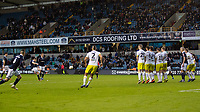 Football - 2018 / 2019 FA Cup - Third Round: Millwall vs. Hull City<br /> <br /> Shane Ferguson (Millwall FC) strikes home the free kick and winning goal at The Den.<br /> <br /> COLORSPORT/DANIEL BEARHAM