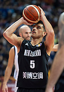 NANJING,CHINA:SEPTEMBER 5th 2019.FIBA World Cup Basketball 2019 Group phase match.Group F. New Zealand vs Greece. A penalty shot for Point Guard,Shea ILI.<br /> Photo by Jayne Russell / www.PhotoSport.nz