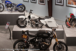 John Shope's Dirtybird Customs custom diesel  bagger in the More Mettle - Motorcycles and Art That Never Quit exhibition in the Buffalo Chip Events Center Gallery during the Sturgis Motorcycle Rally. SD, USA. Thursday, August 12, 2021. Photography ©2021 Michael Lichter.