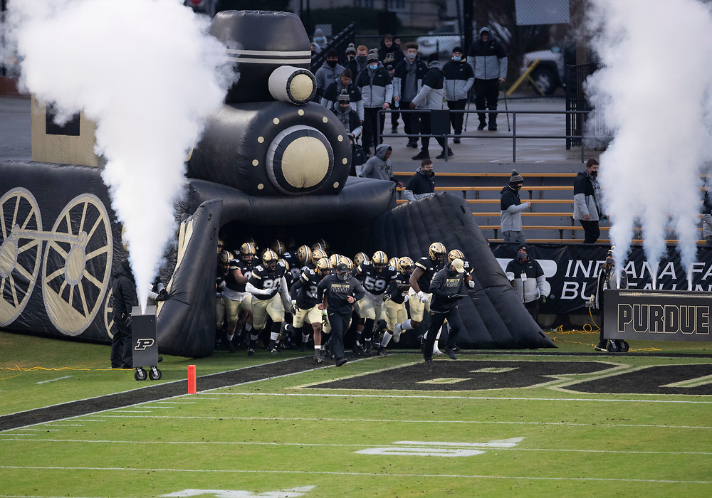 November 14, 2020:  Purdue takes the field prior to NCAA football game action between the Northwestern Wildcats and the Purdue Boilermakers at Ross-Ade Stadium in West Lafayette, Indiana. Northwestern defeated Purdue 27-20.  John Mersits/CSM.