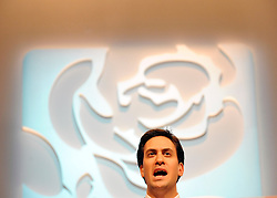 © Licensed to London News Pictures. 27/09/2011. LONDON, UK. David Miliband, Leader of the Labour Party delivers his leaders speech at The Labour Party Conference in Liverpool today (27/09/11). Photo credit:  Stephen Simpson/LNP
