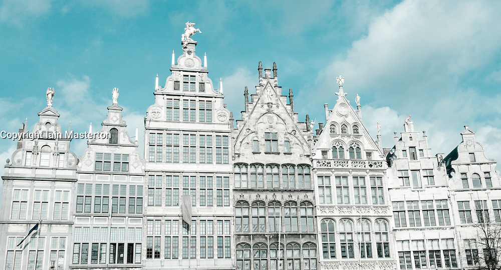 Ornate buildings in Grote Markt in Antwerp Belgium
