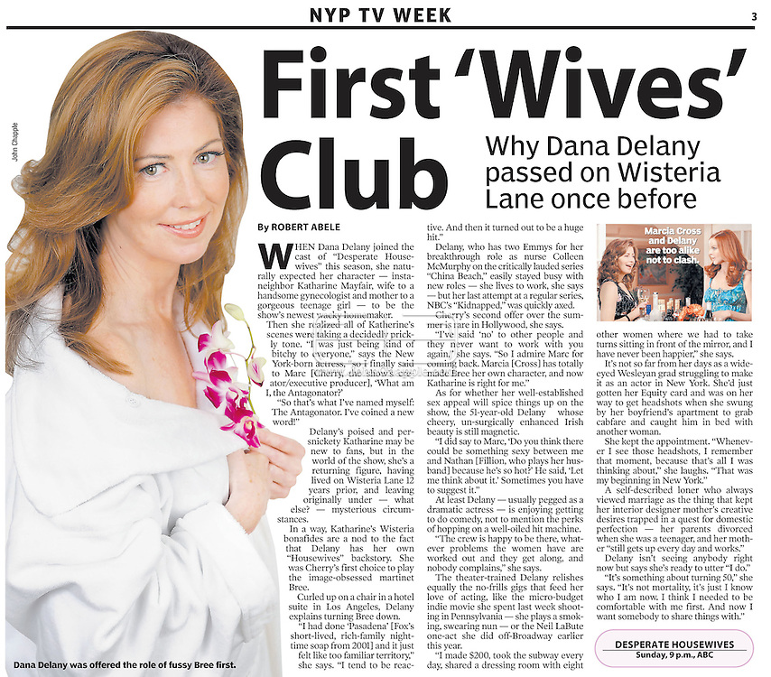 """7th OCT 2007, NEW YORK POST..28th September 2007, Beverly Hills, California. Desperate Housewives actress Dana Delany pictures at the Four Seasons Hotel in Beverly Hills. Dana, an Emmy award winning actress has recently joined the star cast of Desperate Housewives playing the roll of """"Katherine Mayfair"""". In 1991, People magazine voted her as one of the 50 Most Beautiful People in the world. PHOTO © JOHN CHAPPLE / REBEL IMAGES.310 570 9100. john@chapple.biz   www.chapple.biz"""