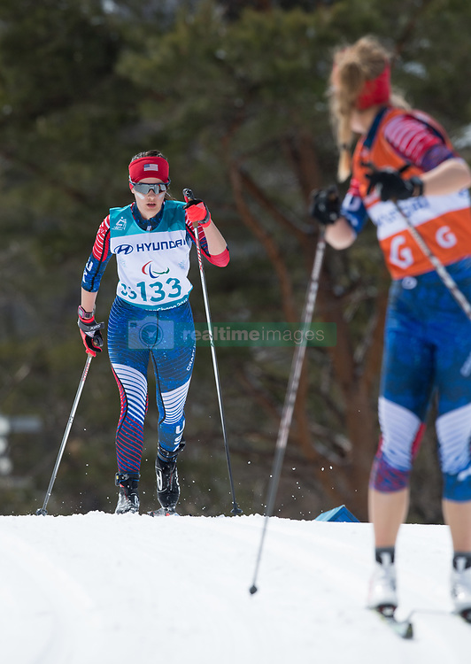 March 17, 2018 - Pyeongchang, South Korea - Mia Zutter and guide Kristina Trygstad-Saari during the 7.5km Visually Impaired Cross Country event Saturday, March 17, 2018 at the Alpensia Biathlon Center at the Pyeongchang Winter Paralympic Games. Photo by Mark Reis (Credit Image: © Mark Reis via ZUMA Wire)