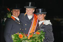 1 Schoots Lotje (NED)<br /> 2 Cho Chia Yuen Marjolein (NED)<br /> 3 Van Baalen Marrigje (NED)<br /> Nederlands Kampioenschap Dressuur - De Steeg 2009<br /> Photo © Dirk Caremans