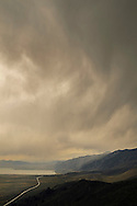Storm clouds over Mono Lake and the Mono Basin from Conway Summit, Mono County, Eastern Sierra, California