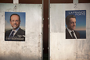 Posters of Francois Hollande and Nicholas Sarkozy following the presidential elections. François Gérard Georges Nicolas Hollande is the 24th President of France. He previously served as the First Secretary of the French Socialist Party from 1997 to 2008 and as a Deputy of the National Assembly of France for Corrèze's 1st Constituency from 1988 to 1993 and then again from 1997 to 2012. Sarkozy was the outgoing president.