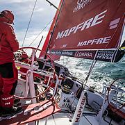 Leg 4, Melbourne to Hong Kong, day 01 on board MAPFRE, Leg start, Pablo Arrarte stearing against Brunel. Photo by Ugo Fonolla/Volvo Ocean Race. 02 January, 2018.