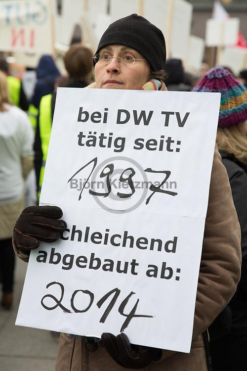 Berlin, Germany - 15.12.2014<br /> <br /> Journalists' protest demonstration in Berlin against cuts at Deutsche Welle - especially the planned loss of language diversity - was criticized in speeches and on signs.<br /> <br /> Journalisten-Protestdemonstration in Berlin gegen Kuerzungen bei der Deutschen Welle - insbesondere der geplante Wegfall der Sprachenvielfalt wurde in Redebeitraegen und auf Schildern kritisiert.<br /> <br /> Photo: Bjoern Kietzmann
