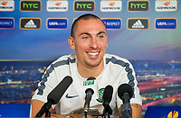 01/10/14<br /> LENNOXTOWN<br /> Celtic captain Scott Brown talks to the press ahead of his sides UEFA Europa League clash against GNK Dinamo Zagreb
