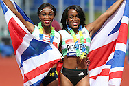 Tiffany Porter  (r) who won the Women's 100m Hurdles Final race poses with her sister Cindy Ofili as both athletes qualify for the Rio 2016 Olympics. The British Championships 2016, athletics event at the Alexander Stadium in Birmingham, Midlands  on Saturday 25th June 2016.<br /> pic by John Patrick Fletcher, Andrew Orchard sports photography.