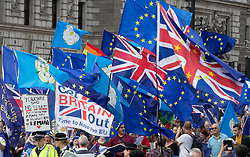 © Licensed to London News Pictures. 03/09/2019. London, UK. A lone Brexit flag calling to 'Get Britain out of the EU' is surrounded by Pro-European flags during a demonstration outside Parliament. Parliament is returning from the summer recess today with MPs expected to try to stop a no-deal Brexit. Prime Minister Boris Johnson has threatened to hold a snap election if the legislation is passed. Photo credit: Peter Macdiarmid/LNP