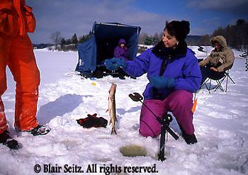 Fishing, Pennsylvania Outdoor recreation, Fishing PA Park Lake, Ice Fishing, Family Ice Fishing on Lake, Hills Creek State Park, PA