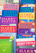 Harry Potter books on display at a car boot sale, UK