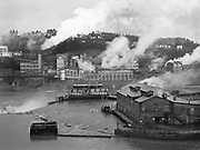 9969-7425. Oregon City paper mills and columns of steam. January 1, 1949.