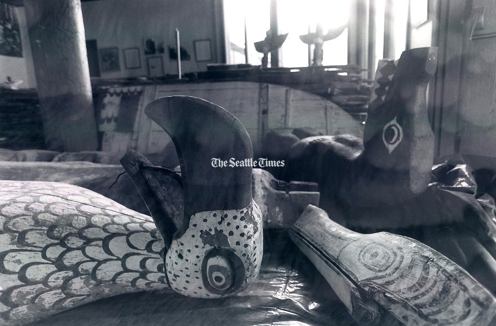 Carvings by Young Doctor from the late 1880's including from left  Thunder Bird and Bear headdresses. (Alan Berner / The Seattle Times, 1993)