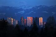 The Bellevue skyline is aglow at sundown. (Ken Lambert / The Seattle Times).