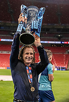 Wycombe Wanderers' manager Gareth Ainsworth holds the trophy aloft <br /> <br /> Photographer Andrew Kearns/CameraSport<br /> <br /> Sky Bet League One Play Off Final - Oxford United v Wycombe Wanderers - Monday July 13th 2020 - Wembley Stadium - London<br /> <br /> World Copyright © 2020 CameraSport. All rights reserved. 43 Linden Ave. Countesthorpe. Leicester. England. LE8 5PG - Tel: +44 (0) 116 277 4147 - admin@camerasport.com - www.camerasport.com